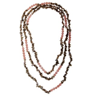 80-inch Peach Moonstone and Labradorite Bead Necklace