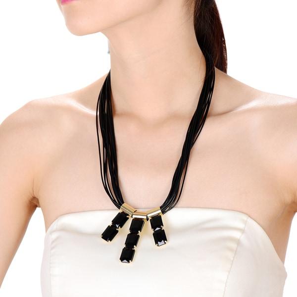 Alberto Moore Alberto Moore Fashion Black and Goldtone Multistrand Necklace