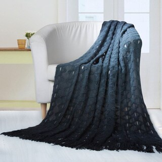 Chic Home Anderson Ombre Knitted and Mercerized Yarn Dye Throw Blanket