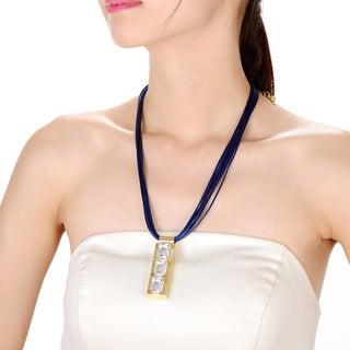 Alberto Moore Alberto Moore Fashion Jewelry Blue Crystal and Goldtone Stone Pendant Necklace
