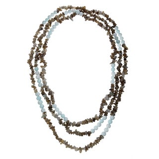 80-inch Aquamarine and Labradorite Bead Necklace
