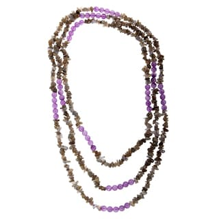 80-inch Amethyst and Labradorite Bead Necklace