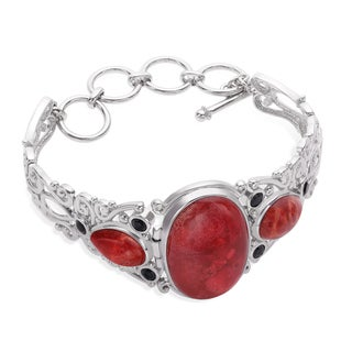 Sterling Silver Coral and Black Spinel Adjustable Toggle Bracelet