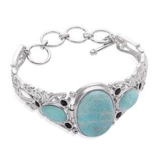 Sterling Silver Amazonite and Black Spinel Adjustable Toggle Bracelet - Blue
