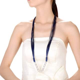 Alberto Moore Blue Multistrand Vegan Studded Leather Fashion Necklace|https://ak1.ostkcdn.com/images/products/10940169/P17968088.jpg?impolicy=medium