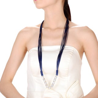 Alberto Moore Blue Multistrand Vegan Studded Leather Fashion Necklace