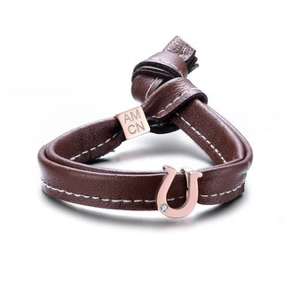 Alberto Moore 8-inch Single Wrap Brown Leather with a Horseshoe Emblem Bracelet