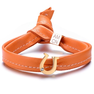 Alberto Moore Alberto Moore Goldtone and Tangerine Leather with a Horseshoe Emblem Single Wrap Bracelet