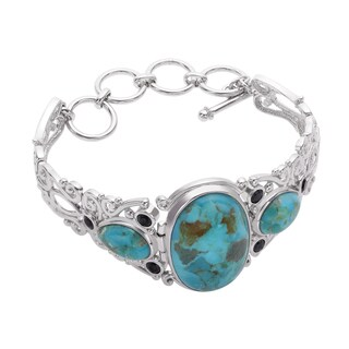 Sterling Silver Turquiose and Black Spinel Adjustable Toggle Bracelet - Blue