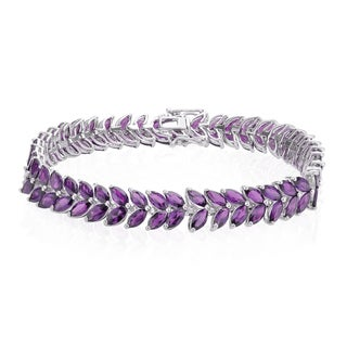 Sterling Silver 14.40ct Amethyst Marquise Line Bracelet