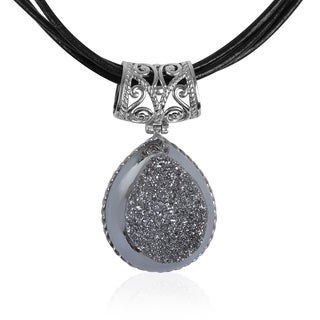 Sterling Silver and Platinum Drusy Pendant with Leather Cord