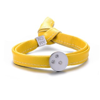 Alberto Moore Single Wrap Freesia Yellow Leather with Round Studded Sterling Silver Circle 8-inch Bracelet