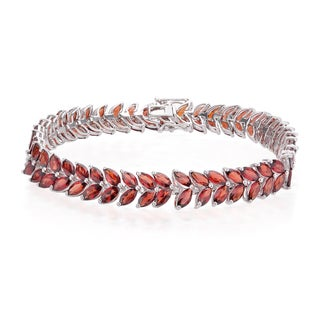 Sterling Silver 26.40ct Garnet Marquise Line Bracelet