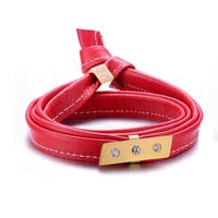 Alberto Moore Alberto Moore Genuine Soft Marsala Red Multi-wrap Leather with a Studded Bar Bracelet