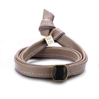 Alberto Moore Genuine Toasted Almond Multi Wrap Leather Bezel-set Gem Bracelet