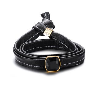 Genuine Soft Multi-wrap Black Leather with a Bezel-set Gem Bracelet