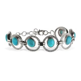 Sterling Silver 9.25-inch 10x8mm Kingman Turquoise Link Bracelet