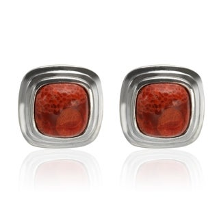 Sterling Silver 9mm Cushion Shaped Red Sponge Coral Stud Earrings