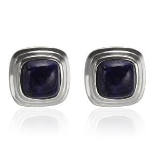 Sterling Silver 9mm Cushion Shaped Lapis Stud Earrings
