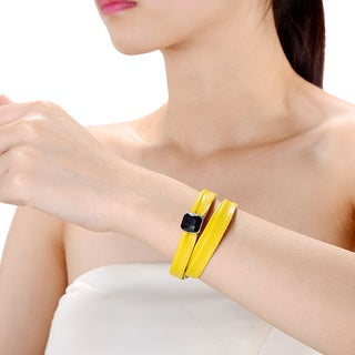 Alberto Moore Alberto Moore Genuine Soft Freesia Yellow Multi-wrap Leather with a Bezel Set Gem Bracelet
