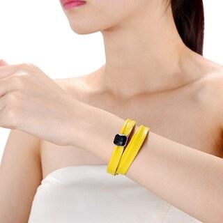 Alberto Moore Alberto Moore Genuine Soft Freesia Yellow Multi-wrap Leather with a Bezel Set Gem Bracelet