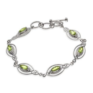 Sterling Silver 3.71ct Peridot Marquise Link Toggle Bracelet