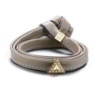 Alberto Moore Alberto Moore Goldtone and Genuine Soft Paloma Grey Leather with a Cubic Zirconia Studded Triangle M