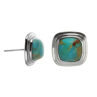 Sterling Silver 9mm Cushion Shaped Turquoise Stud Earrings
