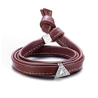 Alberto Moore Alberto Moore Genuine Soft Brown Multi-wrap Leather with a Studded Triangle Bracelet