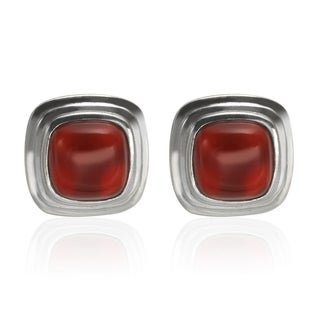Sterling Silver 9mm Cushion Shaped Carnelian Stud Earrings