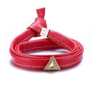 Alberto Moore Alberto Moore Genuine Soft Marsala Red Multi-wrap Leather with a Studded Triangle Bracelet