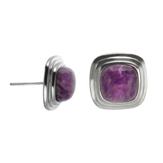Sterling Silver 9mm Cushion Shaped Charoite Stud Earrings
