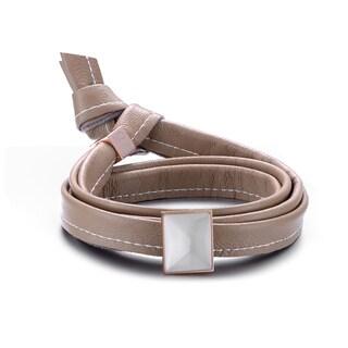 Alberto Moore Genuine Soft Toasted Almond Leather Oblong Bezel-set Stone Multi Wrap Bracelet