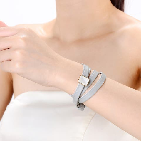 Alberto Moore Alberto Moore Goldtone and Genuine Soft Glacier Grey Leather with Cubic Zirconia Multi-wrap Bracelet