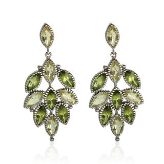 Sterling Silver 1.25-inch 10.20ct Peridot and Lemon Quartz Earrings