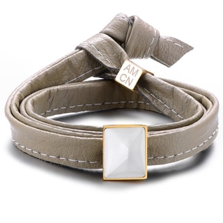 Genuine Soft Paloma Grey Leather With Cubic Zirconia Multi-wrap Bracelet