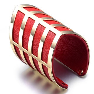 Alberto Moore Alberto Moore Wide Goldtone and Red Vegan Leather Cuff Bracelet