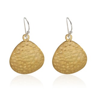 Sterling Silver 14k Gold Vermeil 1.5-inch Hammered and Satin Finished Disk Drop Earrings