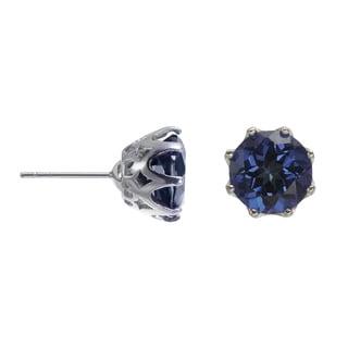 Sterling Silver 10mm 6.16ct Blue Stud Earrings