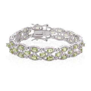 Sterling Silver 10.5ct Peridot and White Topaz Line Bracelet