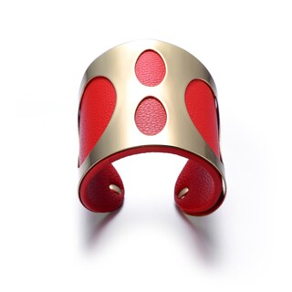 Alberto Moore Red Vegan Leather Goldtone Cuff Bracelet