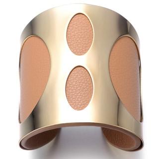 Alberto Moore Goldtone and Khaki Vegan Leather Cuff Bracelet