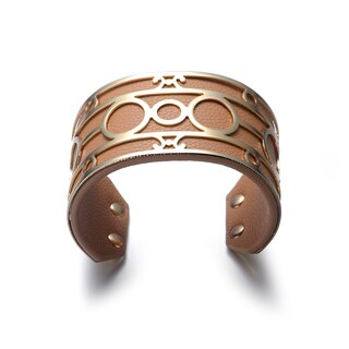 Luggage Vegan Leather Goldtone Detail Cuff Bracelet