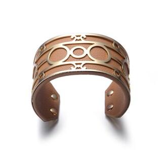 Alberto Moore Luggage Vegan Leather Goldtone Detail Cuff Bracelet