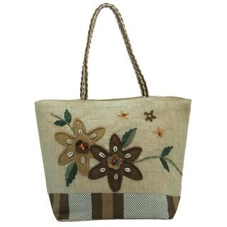 Natural Linen Brown Floral Tote Bag
