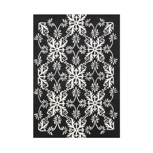 Alliyah Handmade New Zealand Blend Wool Classic White Geometric Rug ( 5' x 8' ) - 5' x 8'