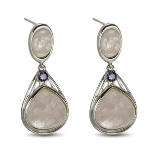 Sterling Silver 1.25-inch 13.66ct Morganite and Iolite Drop Earrings