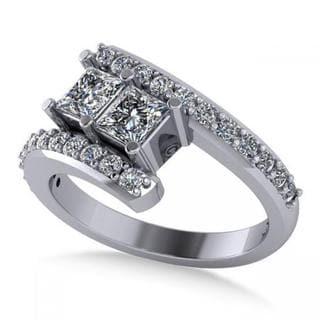 14k Gold Princess-cut Diamond Bypass Split Shank Two Stone Ring 1.28ct
