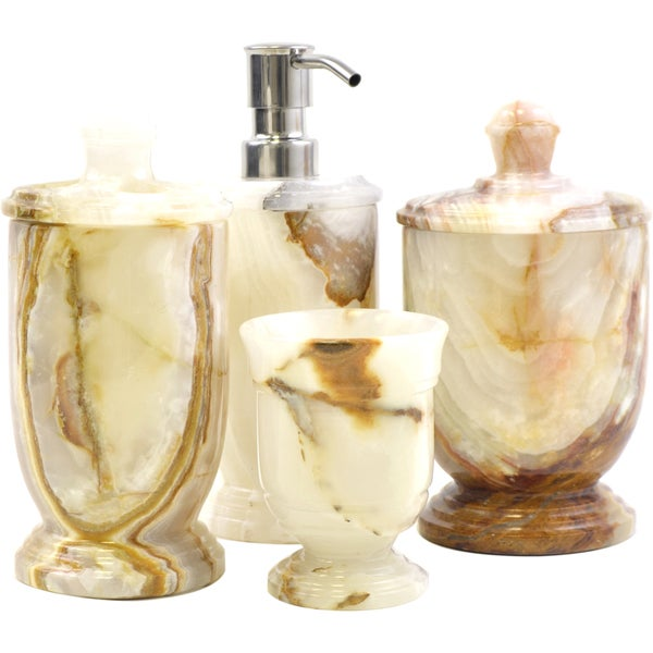 Nature Home Decor Atlantic Collection White Onyx 4 Piece Bathroom Accessory Set