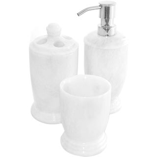 Nature Home Decor White Marble 3-Piece Bathroom Accessory Set of Atlantic Collection.